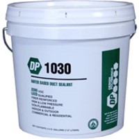 "Sealants                                                                        DP 1030 Water-Based Duct Sealant                                                - For commercial and residential applications                                   - High velocity duct sealant                                                    - Fiber reinforced                                                              - Crack, peel, mold, mildew,                                                      and sag-resistant                                                             - Water and UV-resistant                                                        - Use up to 15"" water column pressure                                           - LEED Qualified                                                                - UL Listed"
