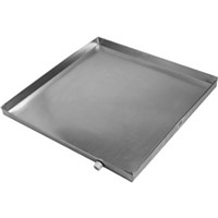 "Sheet Metal Drain Pans                                                          PAN Drain Pan with Plug on Long Side Corner                                     - Shipped with 3/4"" PVC fitting"